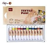 Textile Paint 12 Colors Fabric Paint Set, Happlee Permanent and Water Resistant Textile Paints DIY Dye for Fabric Canvas Wood Plastics (0.41 fl.oz)