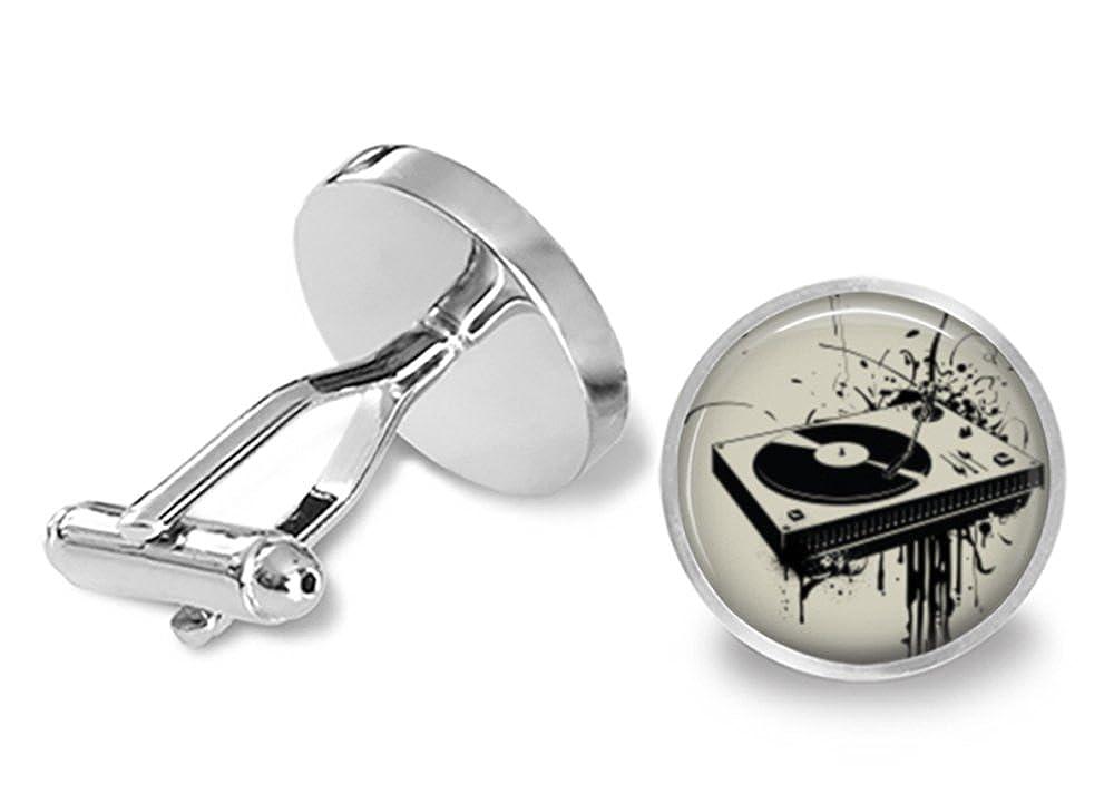Amazon.com: Gemelos, diseño de tocadiscos DJ Cuff Links: Jewelry