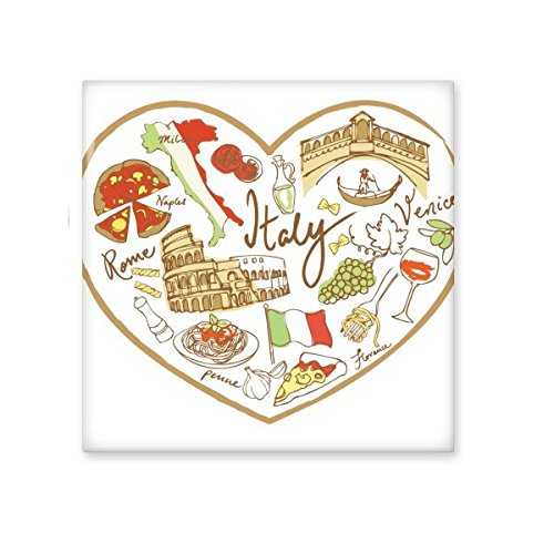Italy Love Heart Roman Theater National Flag Pissa Resident Diet Illustration Pattern Ceramic Bisque Tiles for Decorating Bathroom Decor Kitchen Ceramic Tiles Wall Tiles high-quality