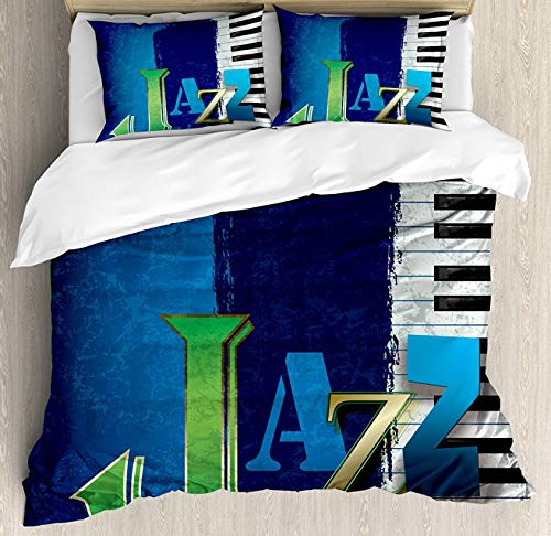 Jazz Music Duvet Cover Set Queen Size, Abstract Cracked Jazz Music Background with Piano Keys Music Themed Print, Decorative 3 Piece Bedding Set with 2 Pillow Shams, Navy Green White -