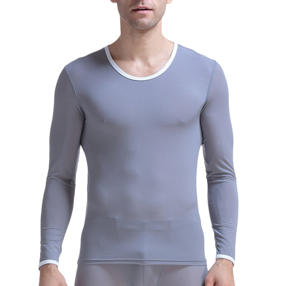 Zhuhaitf Mens Boys Comfortable Thin Ice Silk Compression Long-Sleeved Undershirt