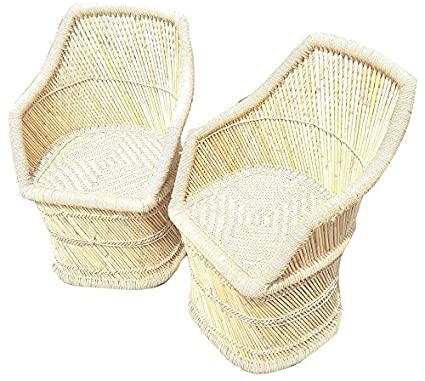 PatioStack Cane/Bamboo Handmade Outdoor Rattan & Wicker Sitting Chair Furniture Set for Garden/Terrace/Lawn/Restaurant (Beige, 18X18X34-inch)- 2Chair