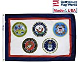 US Armed Forces Multi Service Military Flag, Durable All Weather Nylon, Made in USA (8x12')