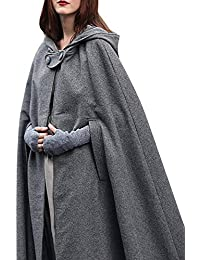 Women Fashion Solid Maxi Hooded Trench Cloak Coat Maxi Hooded Cape