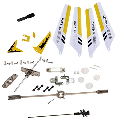 XiaoPengYo Full Spare Parts Main Blade Propellers + Connect buckle + Balance Bar + Main Shaft + Gear for Syma S107G S107 RC Helicopter (Protocol Rc Helicopter Parts)