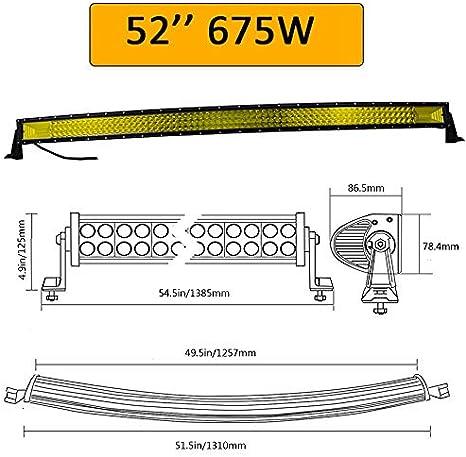 SKYWORLD 42 pulgadas 106.68 cm 540W barra de luz LED curva triple fila Amarillo /Ámbar punto inundaci/ón Combo haz LED Offroad conducci/ón niebla l/ámpara para SUV UTE cami/ón UTV barco