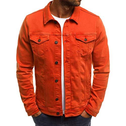 (Willsa Men's Coat Autumn Winter Button Solid Color Vintage Denim Jacket Tops Blouse)