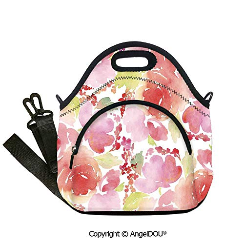 AngelDOU Watercolor Flower portable thickening insulation tape Lunch bag Roses Blooms Flowers In Feminine Warm Colors Summer Garden Illustration insulation cold portable outdoor 12.6x12.6x6.3(inch)