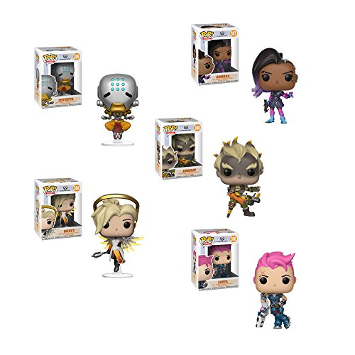 Funko Pop! Games Bundle Overwatch Collectors Set of 5: Junkrat, Mercy, Zarya, Sombra and Zenyatta