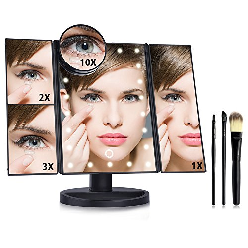 5 X Mirror (AUSHEN Lighted Makeup Mirror 22 LED Lights Touch Screen 1X 2X 3X 10X with Magnification Makeup Vanity Mirror LED with 3pcs Makeup Brushes (Trifold Black))