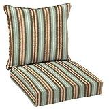 hampton bay seat cushions - Hampton Bay Elaine Ikat Stripe 2-Piece Outdoor Deep Seating Cushion