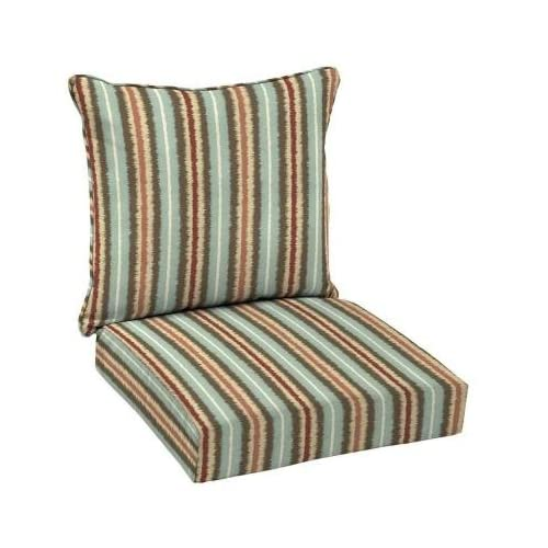 hampton bay elaine ikat stripe 2 piece outdoor deep seating cushion - Hampton Bay Patio Cushions