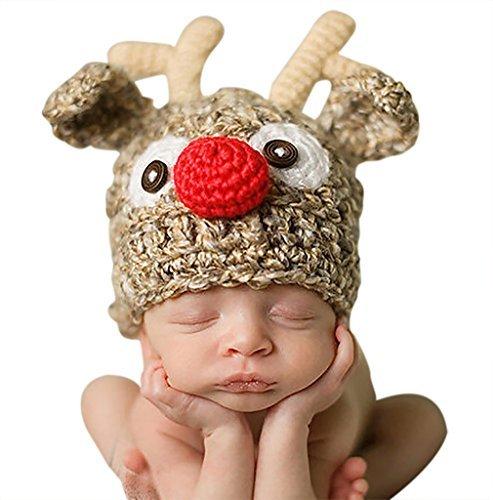 Lanue Unisex Baby Elk Reindeer Knitted Crochet Halloween Christmas Hat Photography Prop