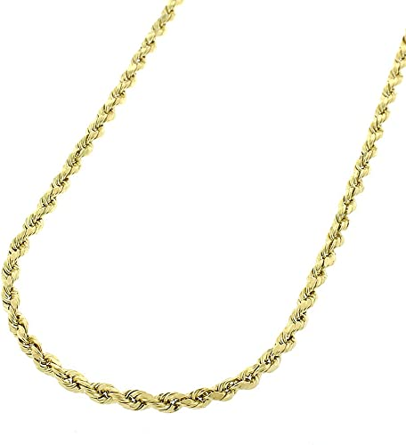 10K Yellow Gold 2mm Hollow Rope Chain Necklace