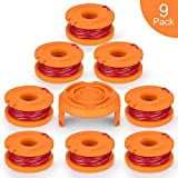 SUERW Line String Trimmer Replacement Spool, 10ft 0.065' Replacement Autofeed Spool for Worx String Trimmer [8 Replacement Line Spool, 1 Trimmer Cap] (10 ft/Packs of 9)