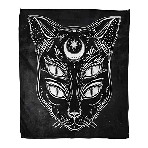 Emvency Throw Blanket Warm Cozy Print Flannel Black Cat Head Portrait Moon and Four Eyes Eyed is Ideal Halloween Tattoo Wierd Comfortable Soft for Bed Sofa and Couch 50x60 Inches