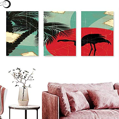 J Chief Sky Tropical Wall Decoration Retro Style Grunge Hawaiian Composition with Flamingo Silhouette and Palm Trees Triptych Art Set Multicolor Triptych Art Canvas W 20