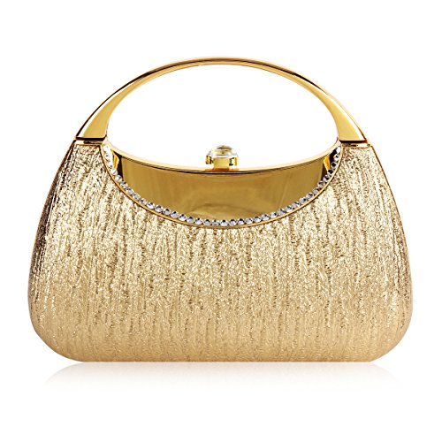 Damara Para Mujer Metal brillante cristal tapa Evening bolsa dorado
