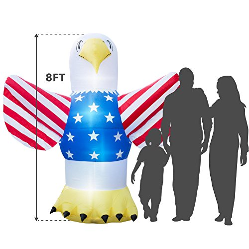 Holidayana Giant 8 Ft. Tall 4th of July Inflatable Bald Eagle, Independence Day Inflatable Featuring Lighted Interior, Airblown Inflatable 4th of July Decoration with Built in Fan and Anchor Ropes
