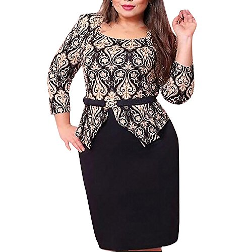 L-6XL Plus Size Womens Sexy Bodycon Dress 3/4 Sleeve Vintage Print Summer Evening Party Stretch OL Short Dress by LUCA