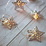10 Silver Star Battery Operated LED Fairy Lights by Lights4f