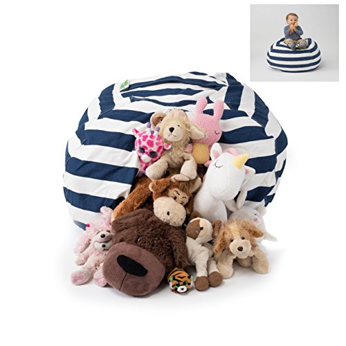 T-Bugs Best Stuffed Animal Storage Bean Bag Chair, Premium Cotton Canvas Toy Organizer for Kids Bedroom, Perfect Storage Solution for Plush Toys, Blankets, Towels & Clothes (38