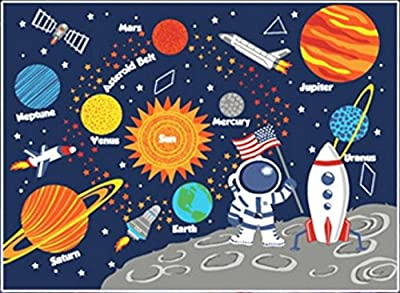 "Kids Rug Educational Learning Carpet Galaxy Planets Stars Blue 3.3' x 4.5"" Children's Fun Area Rug Nursery Rugs Solar System Rectangle Rug"