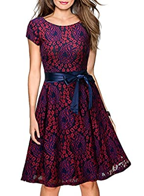 Miusol Women's Vintage Floral Lace Contrast Bow Evening Party Dress