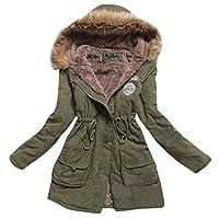 Abrigo acolchado de algodón con capucha acolchada de algodón de piel sintética Aro Lora para mujer Chaqueta larga US 4 verde