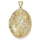 Roy Rose Jewelry 14K Yellow Gold Scroll Oval Locket 34x26mm