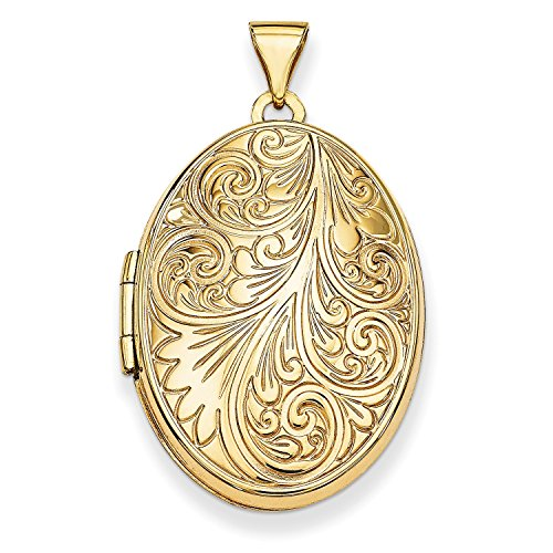 Roy Rose Jewelry 14K Yellow Gold Scroll Oval Locket 34x26mm by Roy Rose Jewelry