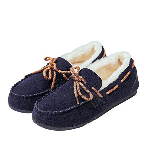 Wild Flat A Pedal Warm Cotton Shoes,Blue-4.5(UK)