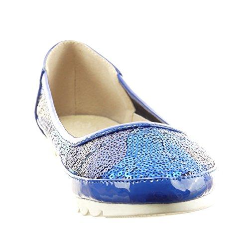 Sopily - Zapatillas de Moda Bailarinas slip-on Tobillo mujer brillante patentes Talón Tacón ancho 1 CM - Azul