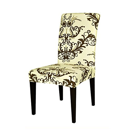 TIKAMI 1PCS Spandex Printed Fit Stretch Dinning Room Chair Slipcovers (Coffee, ()