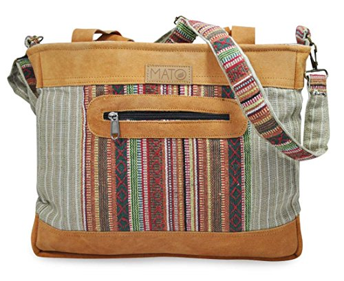 Mato Boho Crossbody Shoulder Hemp Tote Bag Bohemian Baja Aztec Pattern Weekender Shopping Handbag Suede