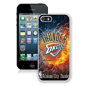 New Custom Design Cover Case For iPhone 5s Generation Oklahoma City Thunder 2 White Phone Case