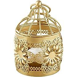 Kate Aspen Floral Lantern, Gold