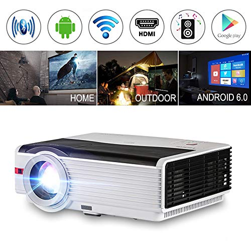 Bluetooth Projector, 2019 Android 5000 Lumen LED LCD Wireless Home Projector TFT Max 200
