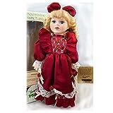 "Vintage Seymour Mann A Connoisseur Collection Doll Porcelain 16"" Burgundy Dress w/ Roses"