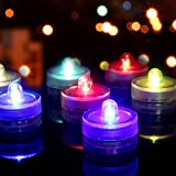 Youngerbaby 12pcs Submersible Flameless Tea Light Battery Operated Waterproof LED Tealights MultiColor Underwater Vase Light for Christmas, Party, Wedding, Thanksgiving, Home Decor