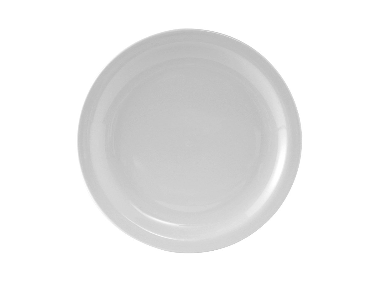 """Tuxton CLA-104 Vitrified China Colorado Plate, Narrow Rim, 10-1/2"""", Porcelain White (Pack of 12), Oven-Microwave-Pressure Cooker Safe; Freezer to Oven Safe"""