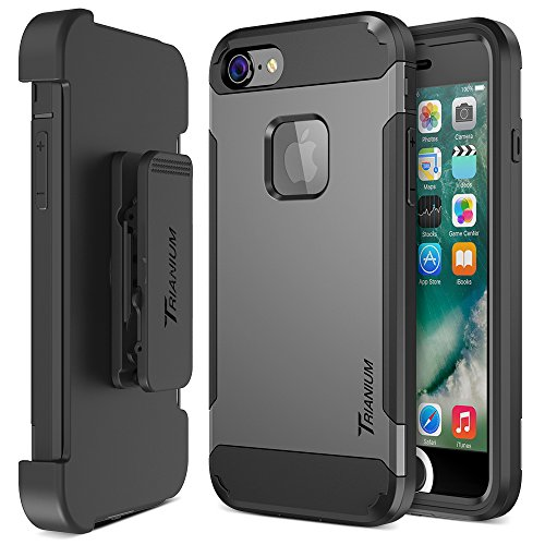 Trianium iPhone 7 Case [Duranium Series] Heavy Duty Ultra Protective Hard Cover Shock Absorption w/ Built-in Screen Protector+ Holster Belt...  w iphone 7 case | *UPDATE* iPhone 7+ Case Collection with Links! 2017 515oWk7 2BxnL