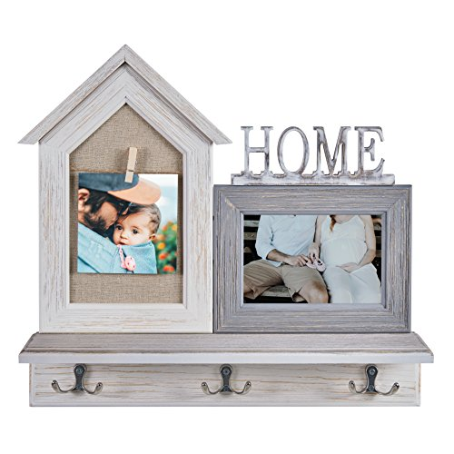 Danya B Home Entryway Shelf Picture Frame with Hooks and Clo