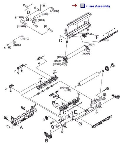 Hp Laserjet 4345xs Mfp - RM1-1043-080CN -N HP Fuser HP LJ 4345 MFP M4345 Mfp M4349 Mfp 110V (Laserjet 4345MFP, Laserjet 4345X, 4345XM, 4345XS, M4345X, M4345XM, M4345XS)