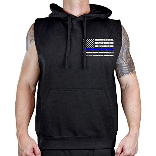 Men's Thin Blue Line Police Flag Sleeveless Vest Hoodie 2X-Large Black