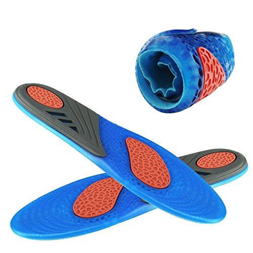 Soft Insert (HLYOON GEL Sports Insoles for Foot Pain and Fasciitis Relieve, Full Length Comfort Inserts for Heel Protection, Shock Absorption, shoe inserts 1 Pair, Size 7.5-14)