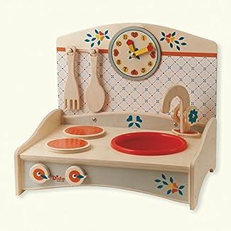 Dida - Mini Cuisine avec décor bleu - cuisine jouet en bois pour les enfants