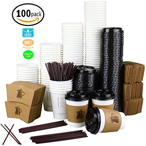 [12 oz - 100 Pack] Disposable White Paper Coffee Cups with Lids, Sleeves, Stirrers For Hot Beverages