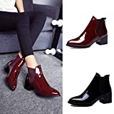 CSSD Newest Women Fashion Elasticated Patent Leather Boots Pointed Low Heel Elastic Band Ankle Boots