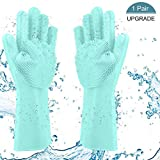 Magic Dishwashing Silicone Gloves, Heat Resistant Scrubber Cleaning Gloves for Household Cooking Baking